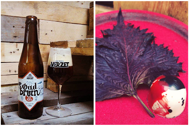 Combinatie-bier-en-chocolade-1-Bruin-verzet-fondantpraline-met-framboos-rode-biet-en-ganache Les associations bière & chocolat