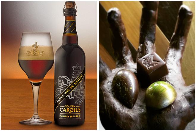 Combinatie-bier-en-chocolade4-gouden-carolus-cuvé-en-gezouten-karamel-praline Bier en chocolade combineren